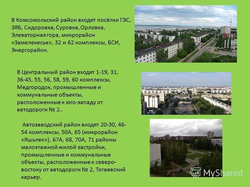 В Комсомольский район входят посёлки ГЭС, ЗЯБ, Сидоровка, Суровка, Орловка, Элеваторная гора, микрорайон «Замелекесье», 32 и 62 комплексы, БСИ, Энергорайон. В Центральный район входят 1-19, 31, 36-45, 55, 56, 58, 59, 60 комплексы, Медгородок, промышл