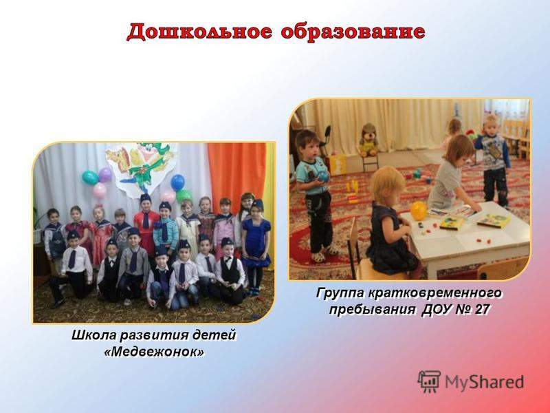 Группа кратковременного пребывания ДОУ 27 Школа развития детей «Медвежонок»