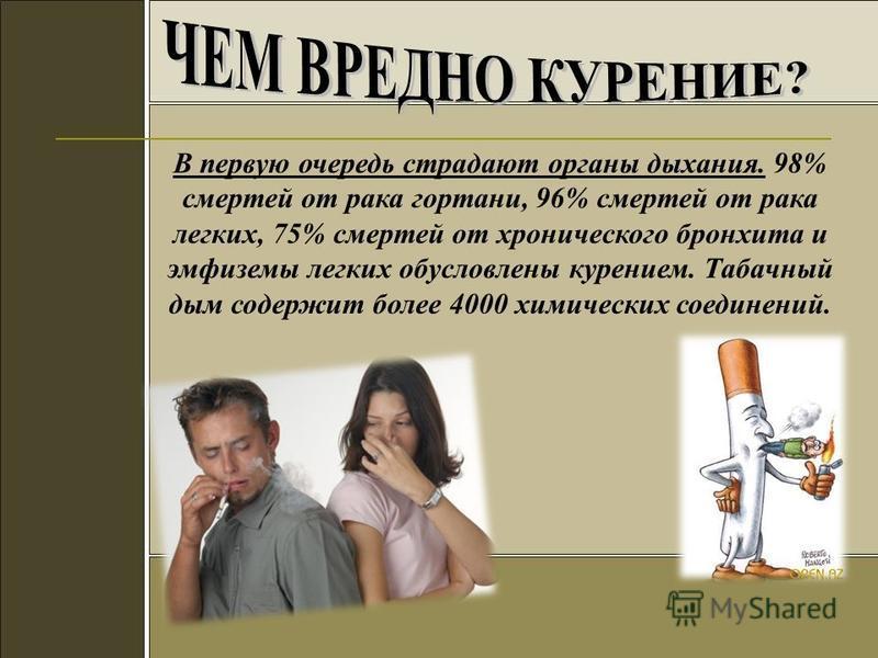 В первую очередь страдают органы дыхания. 98% смертей от рака гортани, 96% смертей от рака легких, 75% смертей от хронического бронхита и эмфиземы легких обусловлены курением. Табачный дым содержит более 4000 химических соединений.