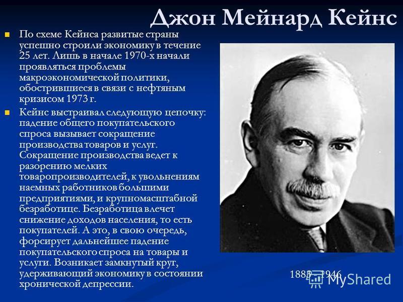 Джон Мейнард Кейнс По схеме Кейнса развитые страны успешно строили экономику в течение 25 лет. Лишь в начале 1970-х начали проявляться проблемы макроэкономической политики, обострившиеся в связи с нефтяным кризисом 1973 г. Кейнс выстраивал следующую