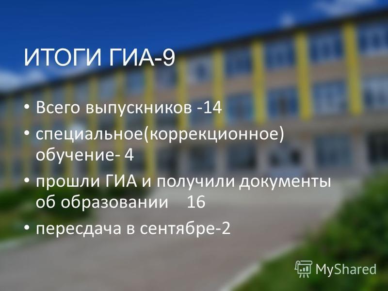 ИТОГИ ГИА-9 Всего выпускников -14 специальное(коррекционное) обучение- 4 прошли ГИА и получили документы об образовании 16 пересдача в сентябре-2