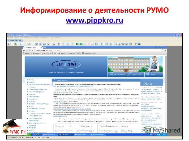 Информирование о деятельности РУМО www.pippkro.ru