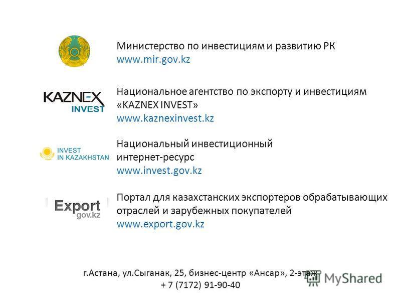 Министерство по инвестициям и развитию РК www.mir.gov.kz Национальное агентство по экспорту и инвестициям «KAZNEX INVEST» www.kaznexinvest.kz Национальный инвестиционный интернет-ресурс www.invest.gov.kz Портал для казахстанских экспортеров обрабатыв