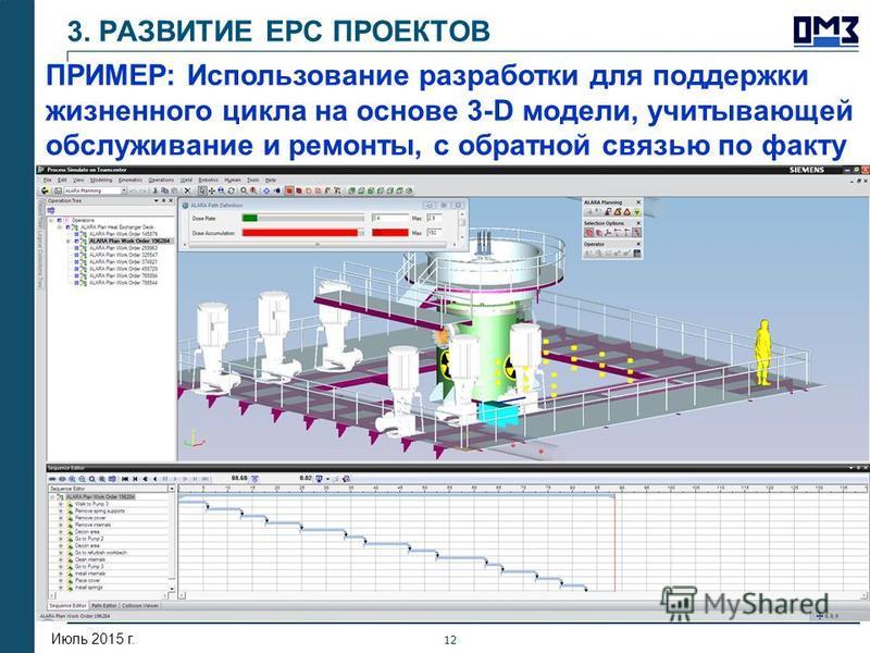 Сентябрь 2013 г. 12 Июль 2015 г. ПРИМЕР: Использование разработки для поддержки жизненного цикла на основе 3-D модели, учитывающей обслуживание и ремонты, с обратной связью по факту 3. РАЗВИТИЕ ЕРС ПРОЕКТОВ