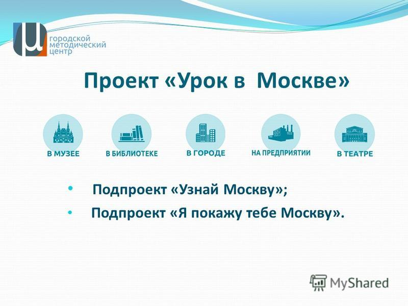 Проект «Урок в Москве» Подпроект «Узнай Москву»; Подпроект «Я покажу тебе Москву».