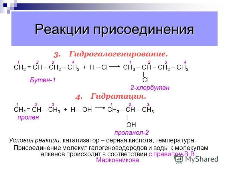 Реакции присоединения 1.Гидрирование. CН 2 = СН 2 + Н 2 СН 3 – СН 3 Этен этан Этен этан Условия реакции: катализатор – Ni, Pt, Pd 2.Галогенирование. 1 2 3 CН 2 = СН – СН 3 + Сl – Сl СН 2 – СН – СН 3 пропен Cl Cl1,2-дихлорпропан Реакция идёт при обычн