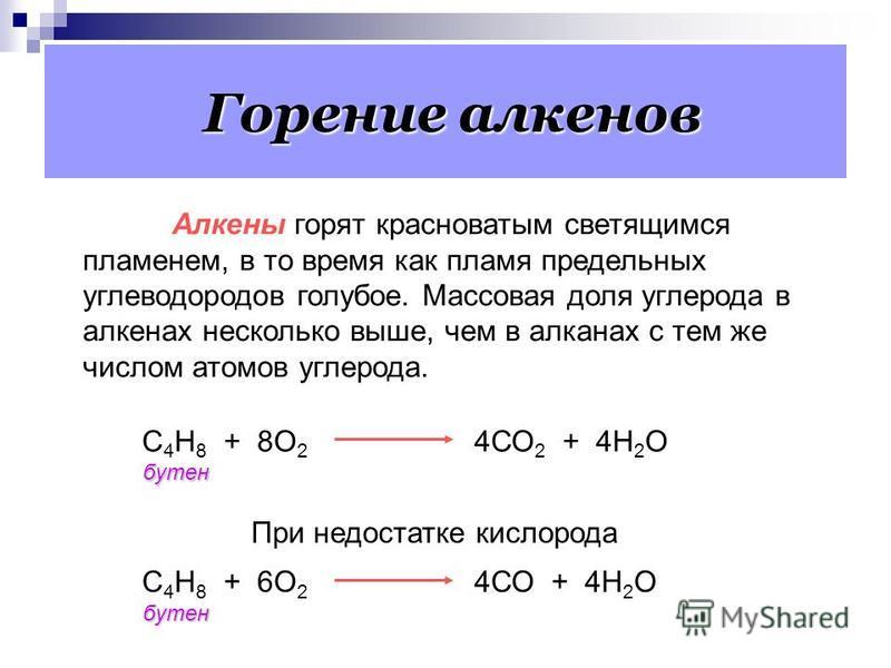 Реакции окисления 3. Каталитическое окисление. а) 2СН 2 = СН 2 + О 2 2СН 3 – CОН этьен уксусный альдегид Условия реакции: катализатор – влажная смесь двух солей PdCl 2 и CuCl 2. б) 2СН 2 = СН 2 + О 2 2СН 2 СН 2 этьен О оксид этэлена Условия реакции: