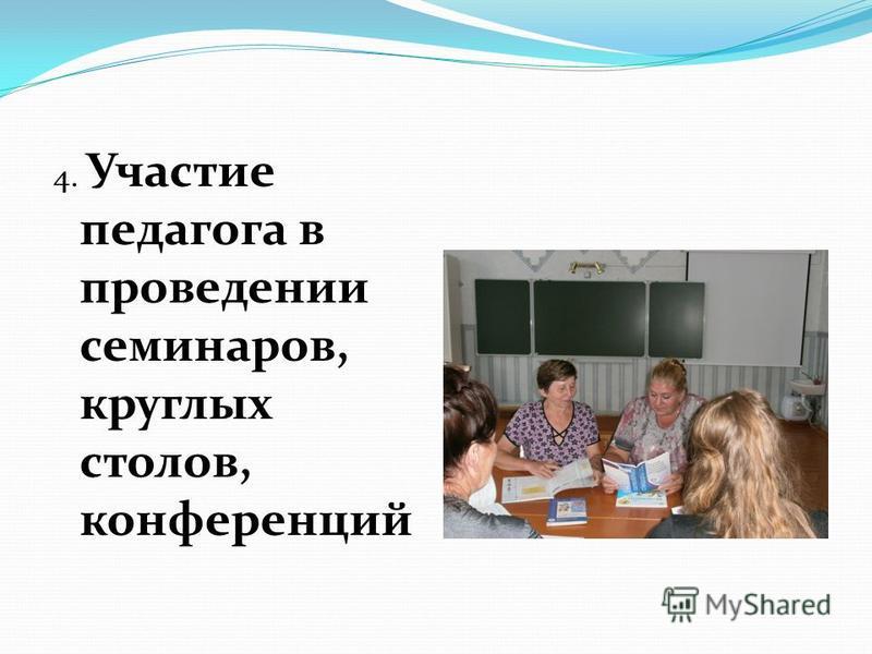 4. Участие педагога в проведении семинаров, круглых столов, конференций