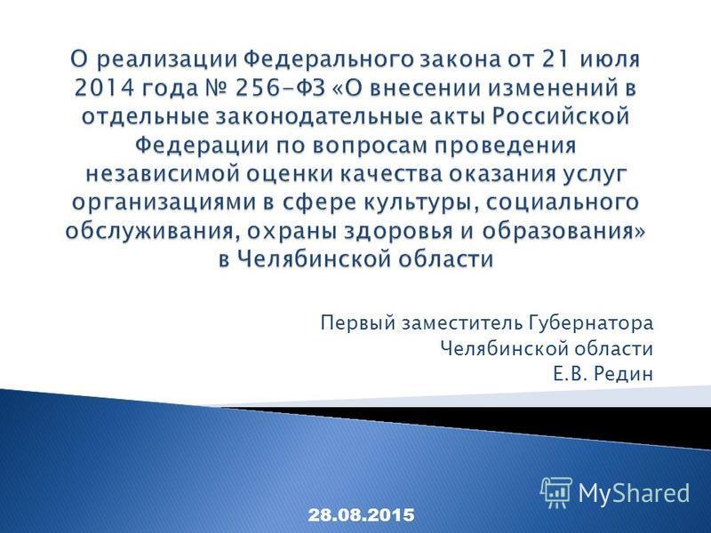 Первый заместитель Губернатора Челябинской области Е.В. Редин 28.08.2015