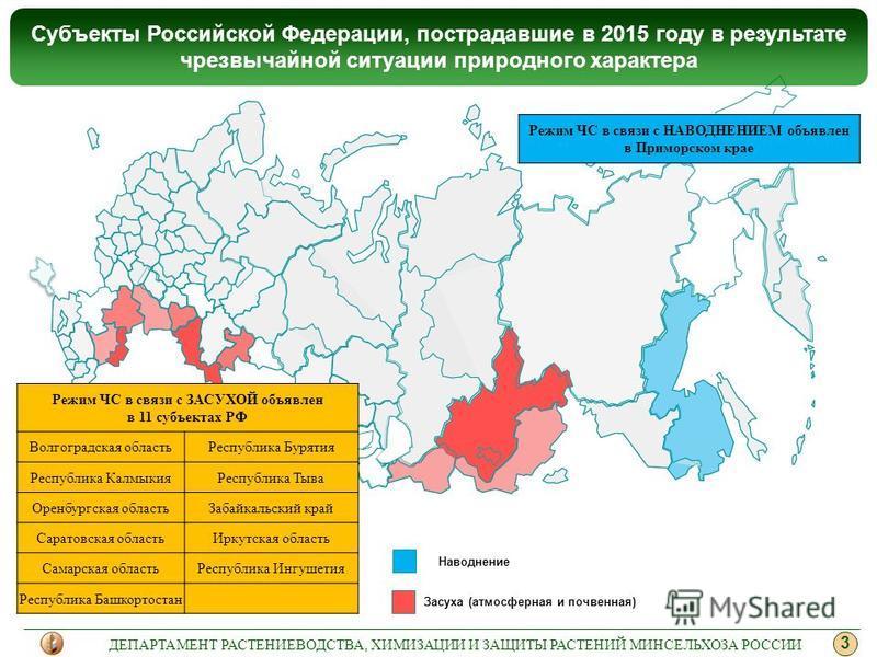 Засуха (атмосферная и почвенная) Субъекты Российской Федерации, пострадавшие в 2015 году в результате чрезвычайной ситуации природного характера 3 ДЕПАРТАМЕНТ РАСТЕНИЕВОДСТВА, ХИМИЗАЦИИ И ЗАЩИТЫ РАСТЕНИЙ МИНСЕЛЬХОЗА РОССИИ Режим ЧС в связи с ЗАСУХОЙ