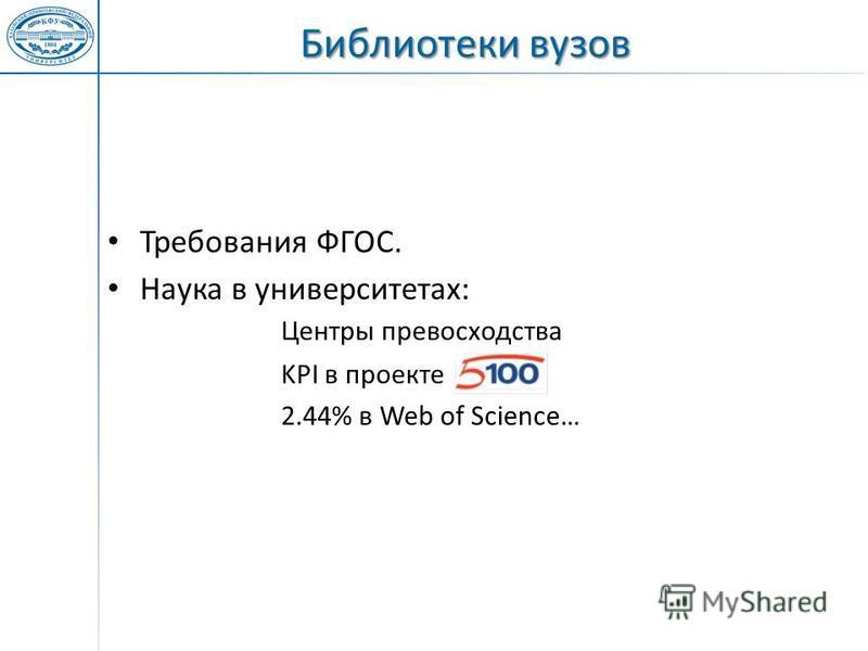 Требования ФГОС. Наука в университетах: Центры превосходства KPI в проекте 2.44% в Web of Science…