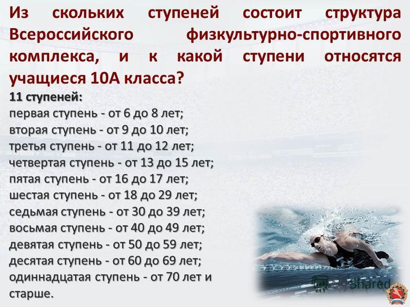 Из скольких ступеней состоит структура Всероссийского физкультурно-спортивного комплекса, и к какой ступени относятся учащиеся 10А класса? 11 ступеней: первая ступень - от 6 до 8 лет; вторая ступень - от 9 до 10 лет; третья ступень - от 11 до 12 лет;