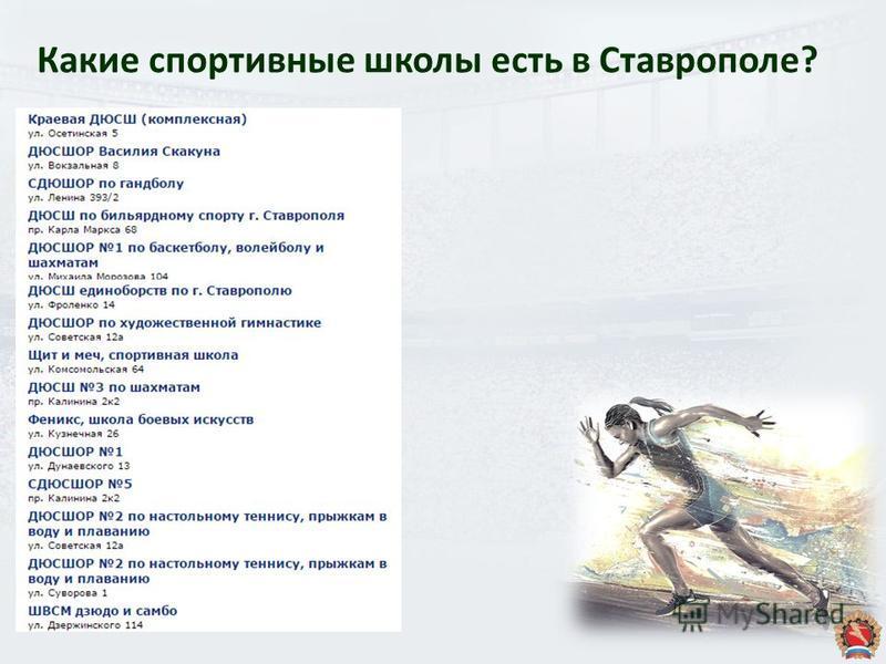 Какие спортивные школы есть в Ставрополе?