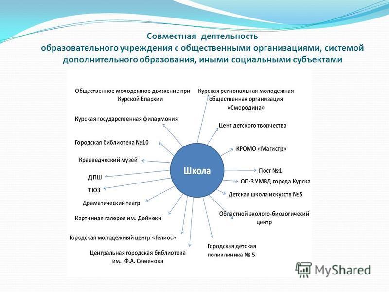 Совместная деятельность образовательного учреждения с общественными организациями, системой дополнительного образования, иными социальными субъектами