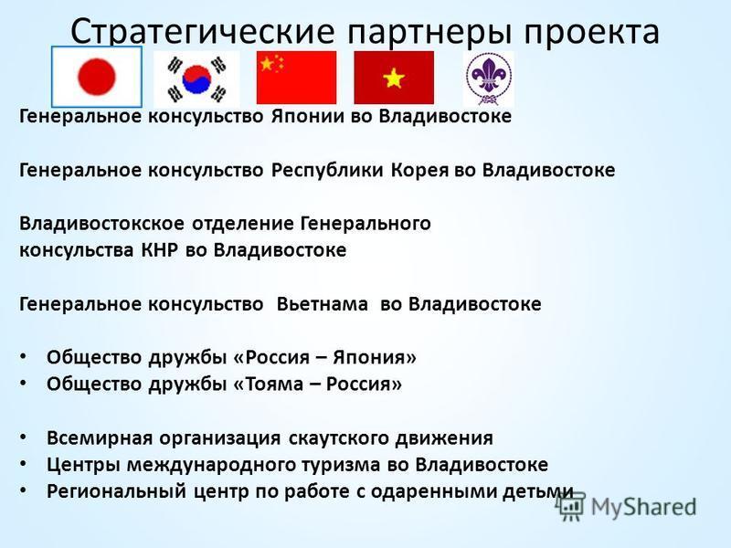 Стратегические партнеры проекта Генеральное консульство Японии во Владивостоке Генеральное консульство Республики Корея во Владивостоке Владивостокское отделение Генерального консульства КНР во Владивостоке Генеральное консульство Вьетнама во Владиво
