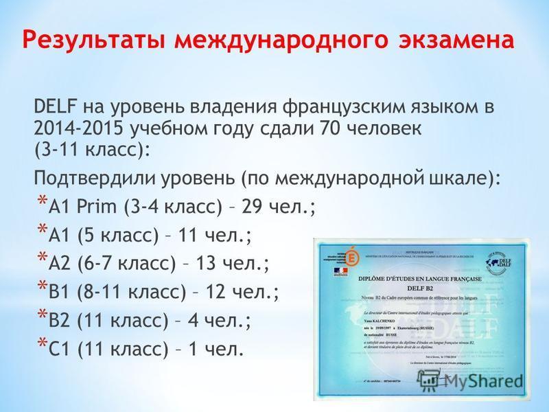 Результаты международного экзамена DELF на уровень владения французским языком в 2014-2015 учебном году сдали 70 человек (3-11 класс): Подтвердили уровень (по международной шкале): * А1 Prim (3-4 класс) – 29 чел.; * А1 (5 класс) – 11 чел.; * А2 (6-7