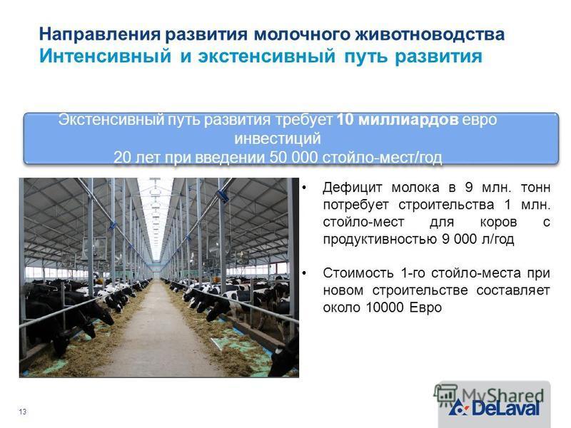 Направления развития молочного животноводства Интенсивный и экстенсивный путь развития 13 Экстенсивный путь развития требует 10 миллиардов евро инвестиций 20 лет при введении 50 000 стойло-мест/год Экстенсивный путь развития требует 10 миллиардов евр