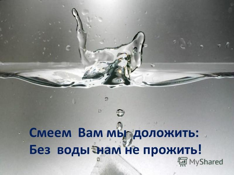 Смеем Вам мы доложить: Без воды нам не прожить!