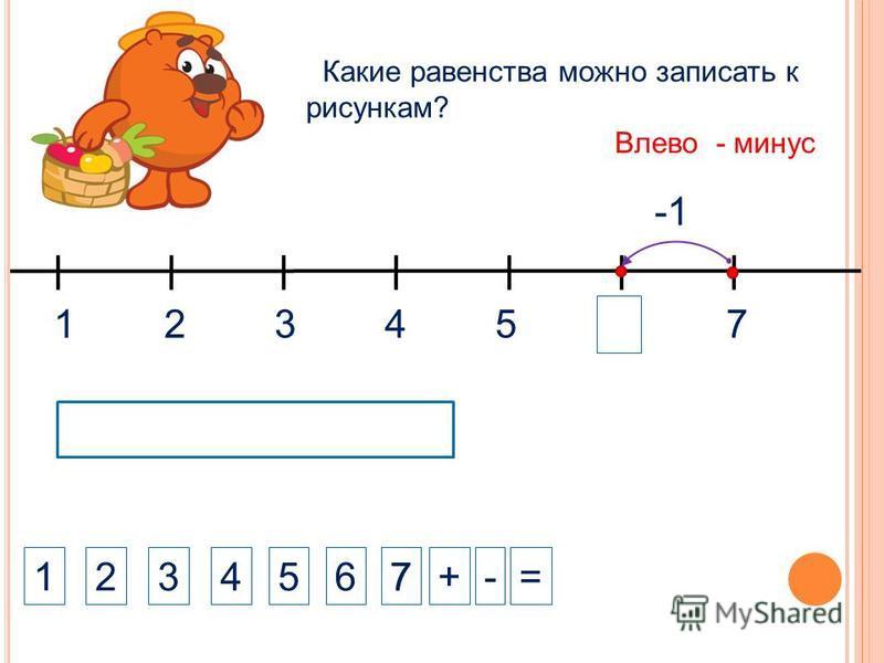 1324 1234+-= Какие равенства можно записать к рисункам? 5 Влево - минус 5 6 7 7 7