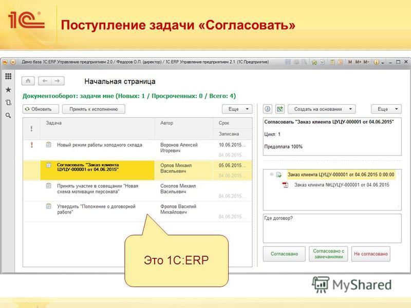 Поступление задачи «Согласовать» Это 1С:ERP