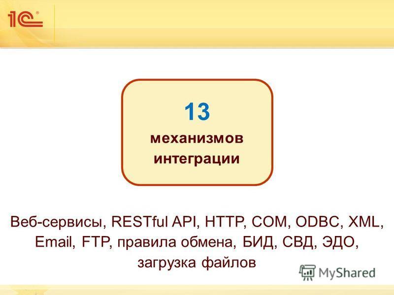 13 механизмов интеграции Веб-сервисы, RESTful API, HTTP, COM, ODBC, XML, Email, FTP, правила обмена, БИД, СВД, ЭДО, загрузка файлов