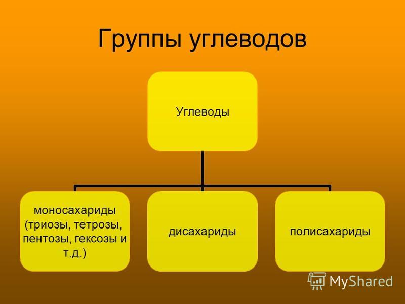 Группы углеводов Углеводы моносахариды (триозы, тетрозы, пентозы, гексозы и т.д.) дисахариды полисахариды