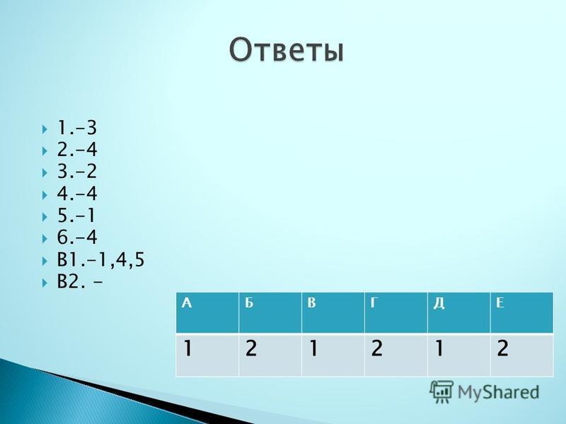 1.-3 2.-4 3.-2 4.-4 5.-1 6.-4 В1.-1,4,5 В2. - АБВГДЕ 121212