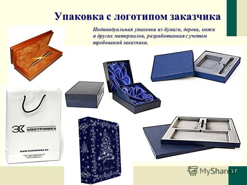 Упаковка с логотипом заказчика 17 Индивидуальная упаковка из бумаги, дерева, кожи и других материалов, разработанная с учетом требований заказчика.