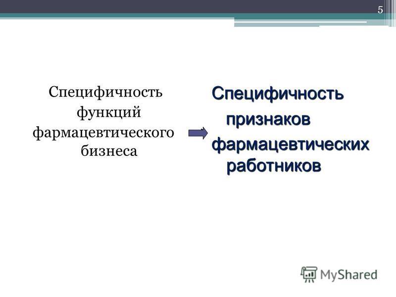 Специфичность функций фармацевтического бизнеса Специфичность признаков признаков фармацевтических работников 5