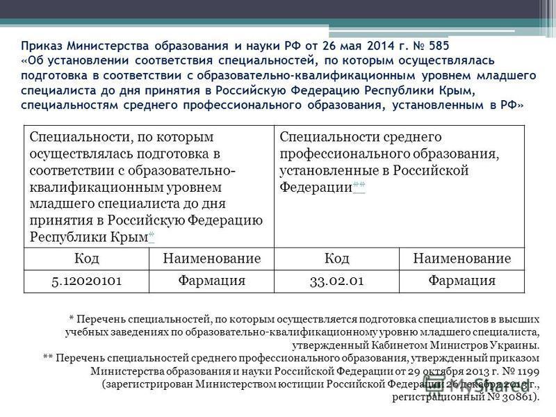 Приказ Министерства образования и науки РФ от 26 мая 2014 г. 585 «Об установлении соответствия специальностей, по которым осуществлялась подготовка в соответствии с образовательно-квалификационным уровнем младшего специалиста до дня принятия в Россий