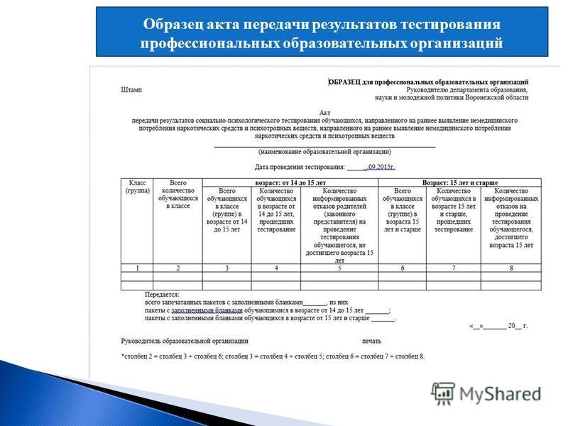 Образец акта передачи результатов тестирования профессиональных образовательных организаций