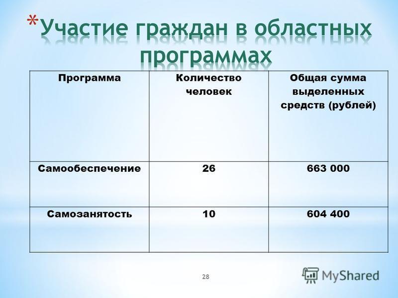 28 Программа Количество человек Общая сумма выделенных средств (рублей) Самообеспечение 26663 000 Самозанятость 10604 400