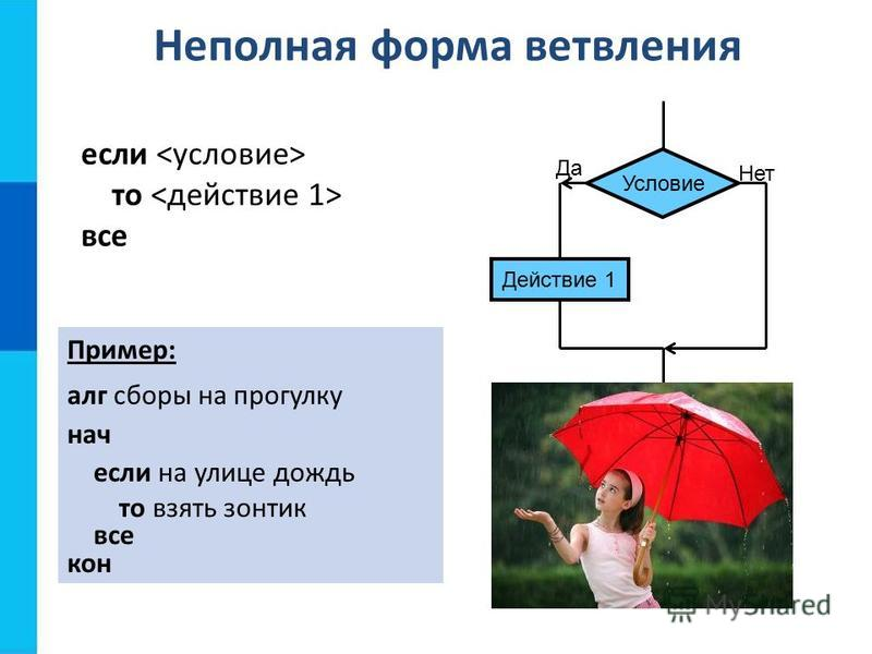 Неполная форма ветвления Действие 1 Условие если то все Пример: алг сборы на прогулку нач если на улице дождь то взять зонтик все кон Да Нет