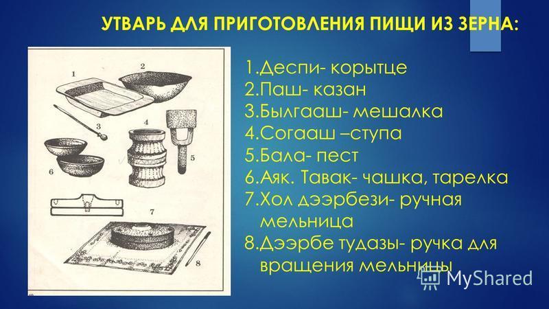 1.Деспи- корытце 2.Паш- казан 3.Былгааш- мешалка 4. Согааш –ступа 5.Бала- пест 6.Аяк. Тавак- чашка, тарелка 7. Хол дээрбези- ручная мельница 8. Дээрбе тудазы- ручка для вращения мельницы УТВАРЬ ДЛЯ ПРИГОТОВЛЕНИЯ ПИЩИ ИЗ ЗЕРНА: