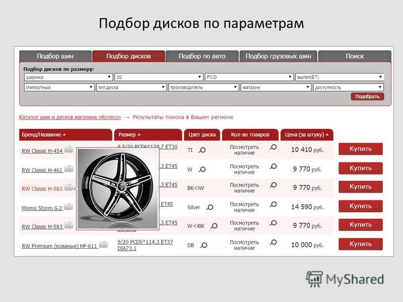 Подбор дисков по параметрам