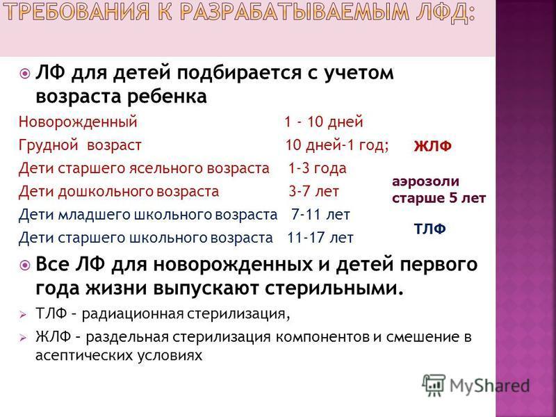 ЛФ для детей подбирается с учетом возраста ребенка Новорожденный 1 - 10 дней Грудной возраст 10 дней-1 год; Дети старшего ясельного возраста 1-3 года Дети дошкольного возраста 3-7 лет Дети младшего школьного возраста 7-11 лет Дети старшего школьного