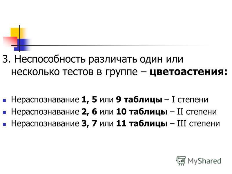 3. Неспособность различать один или несколько тестов в группе – цветоастения: Нераспознавание 1, 5 или 9 таблицы – I степени Нераспознавание 2, 6 или 10 таблицы – II степени Нераспознавание 3, 7 или 11 таблицы – III степени