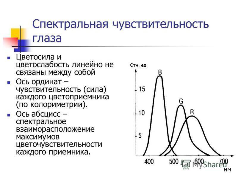 Спектральная чувствительность глаза Цветосила и цветослабость линейно не связаны между собой Ось ординат – чувствительность (сила) каждого цвето приемника (по колориметрии). Ось абсцисс – спектральное взаиморасположение максимумов цветочувствительнос