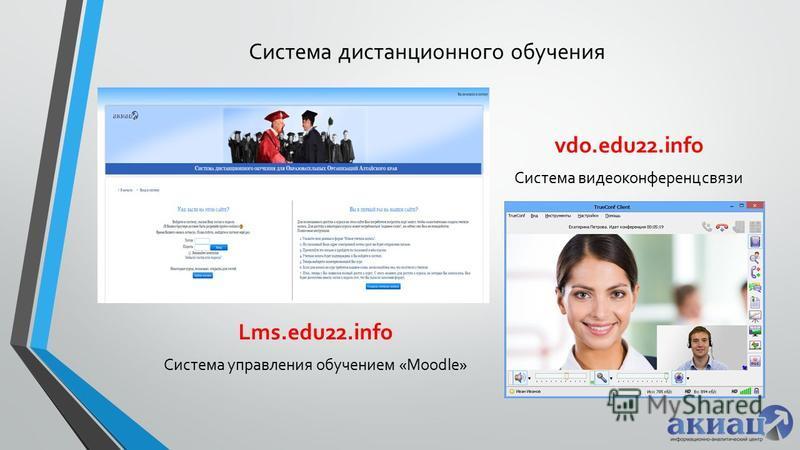 Система дистанционного обучения Lms.edu22. info Система управления обучением «Moodle» vdo.edu22. info Система видеоконференцсвязи