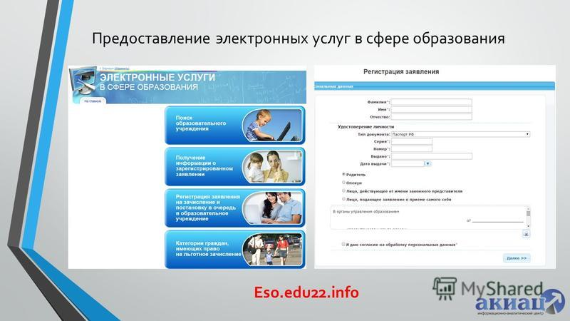 Предоставление электронных услуг в сфере образования Eso.edu22.info