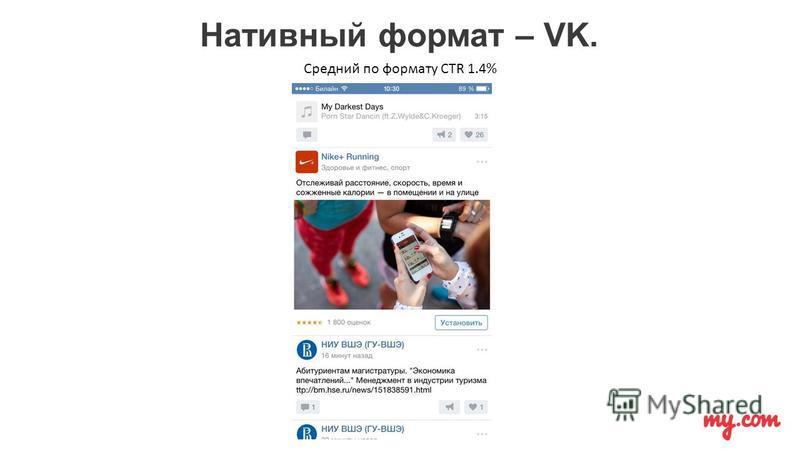 Нативный формат – VK. Средний по формату CTR 1.4%