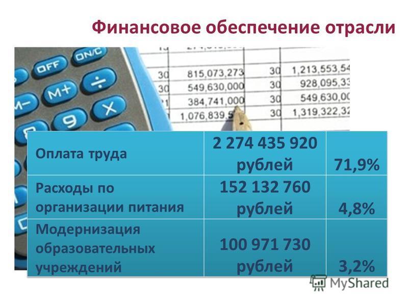 Финансовое обеспечение отрасли