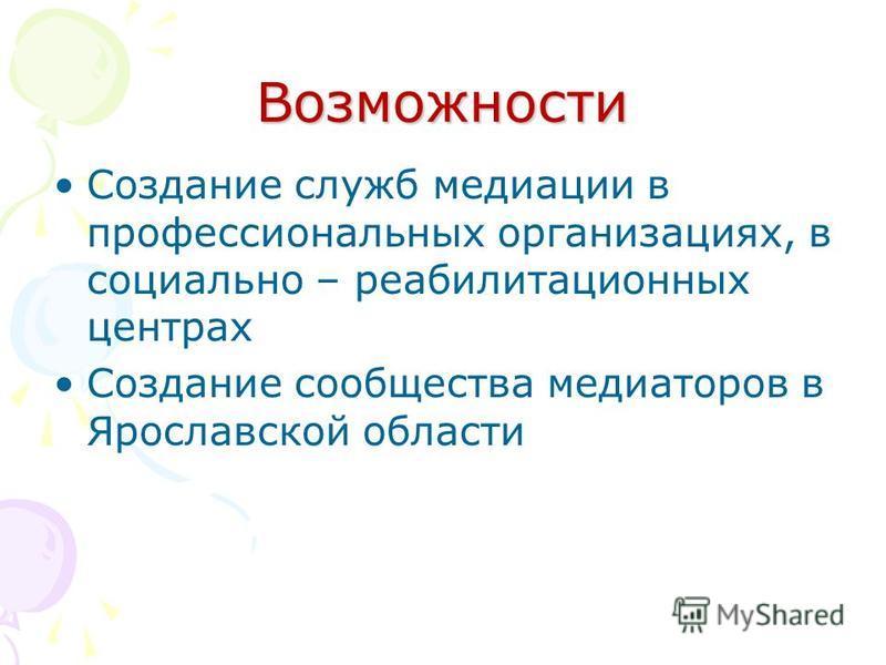 Возможности Создание служб медиации в профессиональных организациях, в социально – реабилитационных центрах Создание сообщества медиаторов в Ярославской области