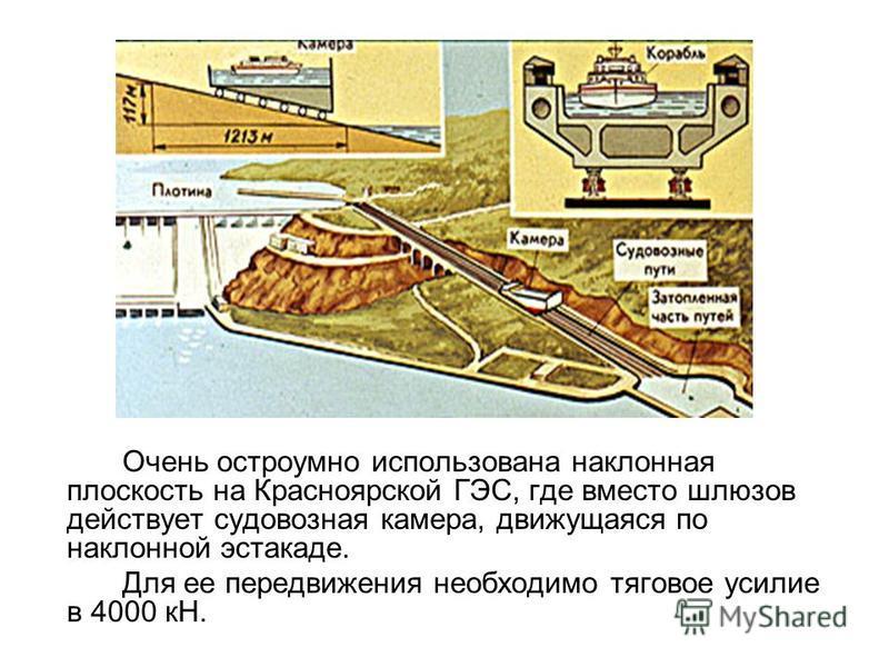 Очень остроумно использована наклонная плоскость на Красноярской ГЭС, где вместо шлюзов действует судовозная камера, движущаяся по наклонной эстакаде. Для ее передвижения необходимо тяговое усилие в 4000 кН.