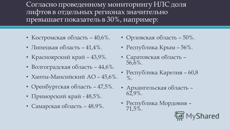 Согласно проведенному мониторингу НЛС доля лифтов в отдельных регионах значительно превышает показатель в 30%, например: Костромская область – 40,6%. Липецкая область – 41,4%. Красноярский край – 43,9%. Волгоградская область – 44,6%. Ханты-Мансийский