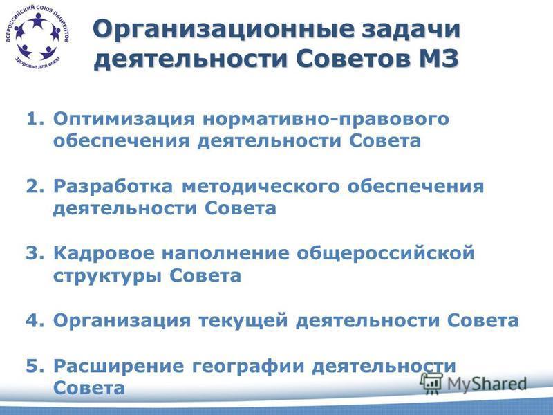 Организационные задачи деятельности Советов МЗ 1. Оптимизация нормативно-правового обеспечения деятельности Совета 2. Разработка методического обеспечения деятельности Совета 3. Кадровое наполнение общероссийской структуры Совета 4. Организация текущ