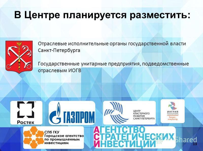 В Центре планируется разместить: Отраслевые исполнительные органы государственной власти Санкт-Петербурга Государственные унитарные предприятия, подведомственные отраслевым ИОГВ 13