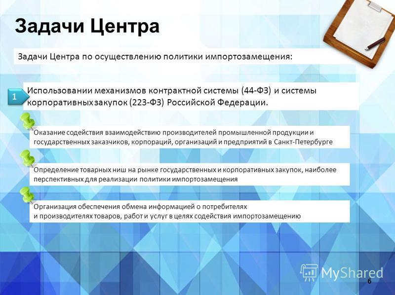 Задачи Центра Задачи Центра по осуществлению политики импортозамещения: 6 Использовании механизмов контрактной системы (44-ФЗ) и системы корпоративных закупок (223-ФЗ) Российской Федерации. 1 1 Оказание содействия взаимодействию производителей промыш
