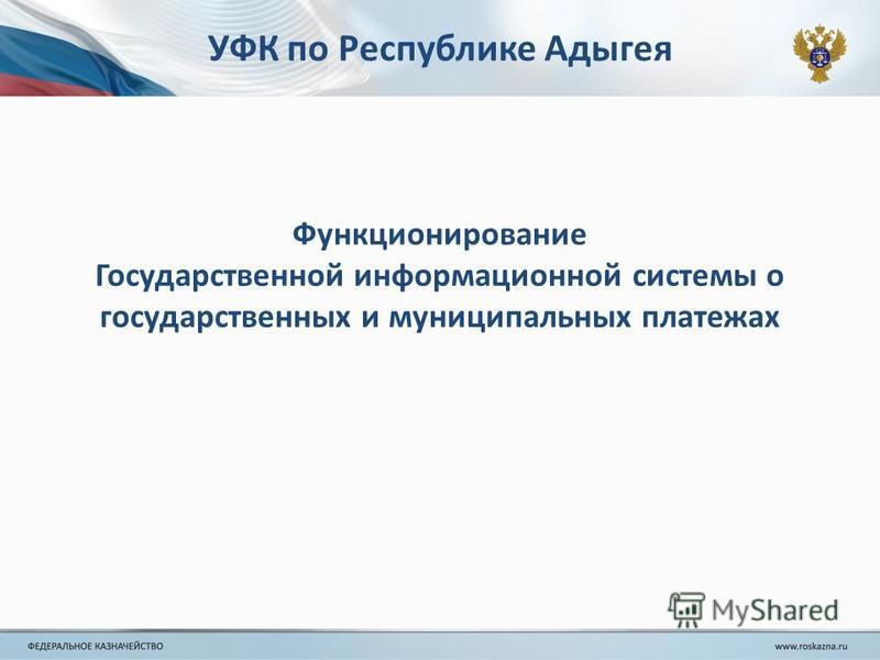 УФК по Республике Адыгея Функционирование Государственной информационной системы о государственных и муниципальных платежах