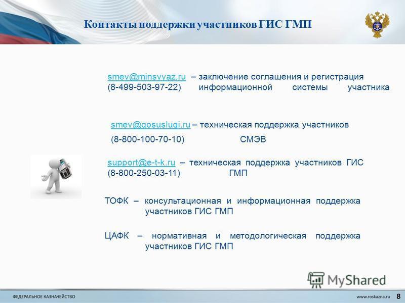 Контакты поддержки участников ГИС ГМП 8 smev@minsvyaz.rusmev@minsvyaz.ru – заключение соглашения и регистрация (8-499-503-97-22) информационной системы участника smev@gosuslugi.rusmev@gosuslugi.ru – техническая поддержка участников (8-800-100-70-10)
